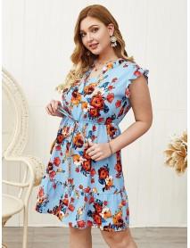 Plus Size Floral Print V-neck Short Sleeve Elastic Waist Elegant Dress