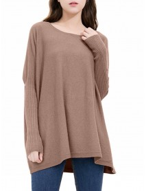 Plus Size Casual Women Batwing Sleeve Knitted Sweaters