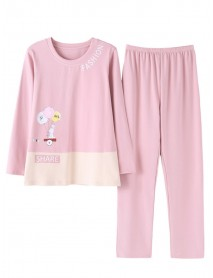 Cotton Long Sleeve O Neck Casual Loungewear 2-Piece Pajama Set