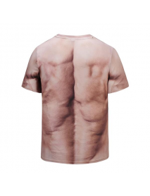 3D Muscle Printed T-shirt Summer Casual Men's Bodybuilding Elastic Short Sleeved Tees