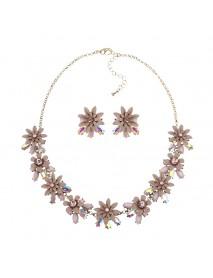 JASSY Women Elegant Flower Crystal Jewelry Set Luxury 18K Gold Plated Gemstone Earrings Necklace