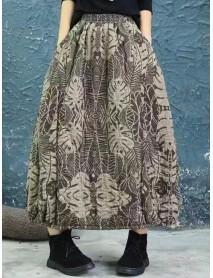 Vintage Women Floral Print Autumn Winter Baggy Skirts