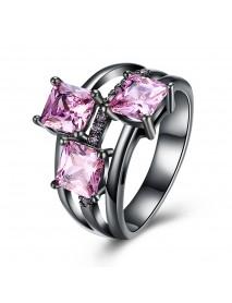 INALIS Elegant 14mm Gun Black Plated Zircon Rhinestone Diamond Rings Gift for Women