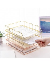 Stackable Iron File Rack File Books Magazine Storage Shelf Office Home Stationery Bookshlef