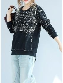 Casual Print Loose O-neck Long Sleeve Women Sweatshirt