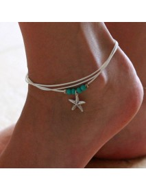 Bohemian Charm Anklet Wax Rope Blue Ball Beads Star Pendant Anklets Feet Accessories for Women