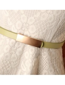 New Women's Smooth Buckle Belt Alloy Matte Fashion Wild Dress Pu Thin Belt New Wave