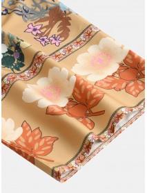 Bohemian Floral Print V Neck Belted Mini Dress Cardigans
