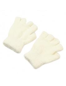 Women Girl Soft Coral Fleece Gloves Fingerless Pure Color Short Mittens