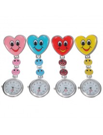 Cartoon Heart Smile Face Nurse Watch Clip On Fob Brooch Hanging Pocket Watch
