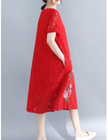 Cotton Lace Floral Embroidery Hollout Out Dress