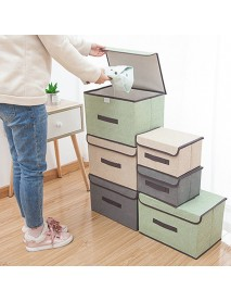 2Pcs Dust-proof Multipurpose Storage Box Clothing and Sundries Organizer Foldable Cloth Baskets with Cover