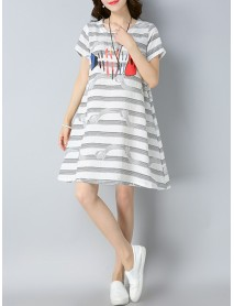 2018 Summer Style Linen Striped Print Cotton Tops Vintage Casual Dress for Women