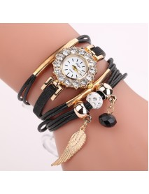 DUOYA Crystal Wing Ladies Bracelet Watch Gold Case Leather Strap Quartz Watches
