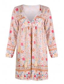 Bohemian Floral Print V-neck Long Sleeve Elastic Cuff Summer Mini Dress