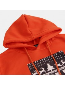 Christmas Pattern Hooded Solid Color Pullover Sweatshirt
