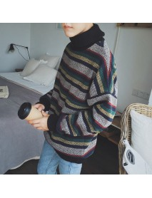 Casual Men Color Block Pullovers Striped High Collar Long Sleeve Sweaters