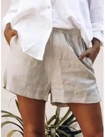 Women Cotton Pure Color Elastic Waist Shorts