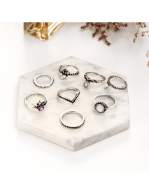 8 Pcs Women Trendy Gift Ring Set Vintage Crystal Geometric Gem Casual Knuckle Rings