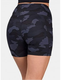 Women Camouflage Fitness Workout Biker Shorts With Pocket