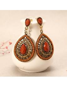 Bohemian Rhinestone Water Drop Pendant Ear Stud Piercing Earrings Clothing Accessories for Women
