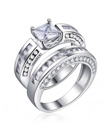 2 Pcs/set Classic Cubic Zirconia Womens Ring Bridal Wedding Platinum Band Finger Rings for Women
