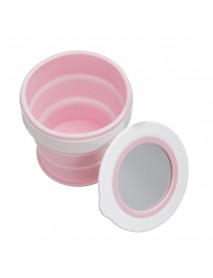 280ML Large-capacity Folding Water Cup Silicone Material with Makeup Mirrors