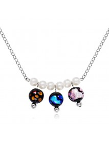 Bohemian Pearl Colorful Glaze Beads Pendant Necklaces Trendy Silver Chain Necklace Gift for Women