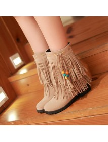 Big Size Women Flat Ankle Boots Ladies Tassels Ankle Short Boots Slip On Boots