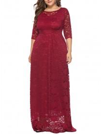 Plus Size Women Elegant 3/4 Sleeve Lace Long Dress