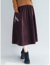 Embroidery Elastic Waist Loose Hem Corduroy Skirts with Pocket