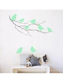 8PCS Honana Fluorescent Glow Birds Wall Sticker Home Bedroom Decor