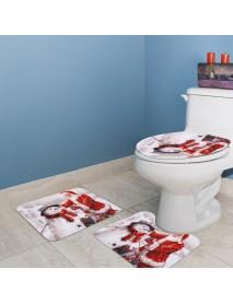 3Pcs/Set Bathroom Non-Slip Christmas Style Bathroom Carpet Rug Toilet Seat Cover Mat Set