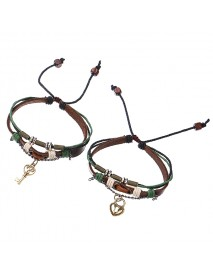 1 Pair Trendy Lock and Key Pendant Lover's Charm Leather Couple Bracelet Valentine's Day Gift