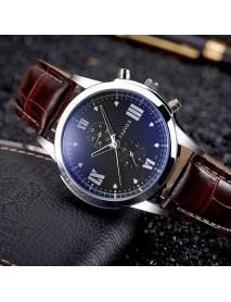 YAZOLE 384 Business Watch PU Leather Strap Compact Dial Quartz Wrist Watch