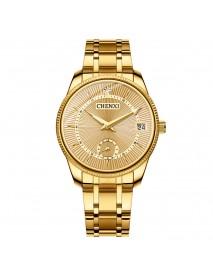 CHENXI CX-069A Gold Case Full Steel Couple Watch Waterproof Date Display Quartz Wrist Watch
