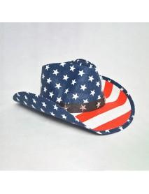 American Flag Panama Western Cowboy Hat Sailor Dance Hat Patriotic Jazz Hat