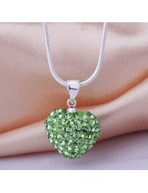 Fashion Women Crystal Heart 925 Sterling Silver Snake Chain Pendant Necklace Jewelry