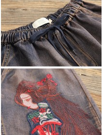 Vintage Denim Embroidery Elastic Waist Trousers Pants