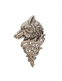 Vintage Copper Alloy Wolf Totem Head Brooch Pin Retro Badge Gift for Men