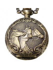 DEFFRUN Bronze 3 Horse Engrave Quartz Pocket Watch Necklace