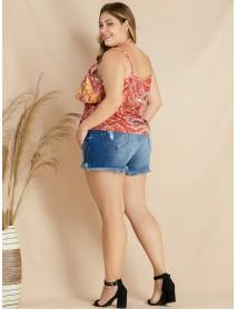 Plus Size Ethnic Style Print Ruffle Tassel Women Tank Top
