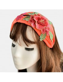 Women Embroidered Printed Headband Vintage Floral Ethnic
