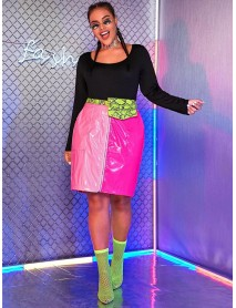 Plus Size Fashion Pink Patent Leather Hit Color Patchwork Front Zipper Party Skirts