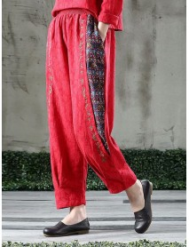Ethnic Style Jacquard Embroidery Casual Trousers Elastic Waist Vintage Pants