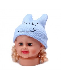 Baby Kids Cotton Cap Newborn Cute Smile Milk Headgear With Horns Knitting Warm Hat