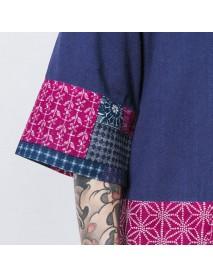 Casual Loose Printing Rerto Linen Jacket For Men