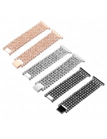 17mm Replacement Stainless Steel Diamond Wrist Watch Band Strap For Fitbit Versa