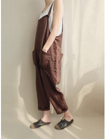 Casual Women Solid Color Strappy Pocket Loose Harem Jumpsuit