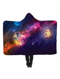 150x200cm Starry Sky Hooded Blankets Wearable Soft Winter Bed Cover Halloween